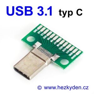 Adapter USB 3.1 typ C konektor vidlice komplet mini