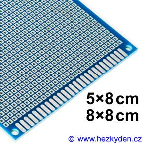 Bastldeska univerzální plošný spoj 8cm profi jednostranná FR4 modrá