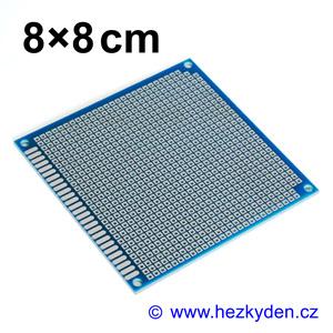 Bastldeska univerzální plošný spoj 8x8cm profi jednostranná FR4 modrá