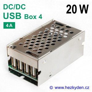 DC-DC měnič 4× USB Box 4A 20W