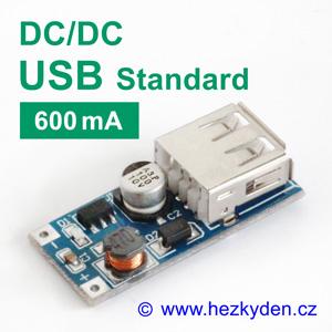 DC-DC měnič USB zvyšující 600mA
