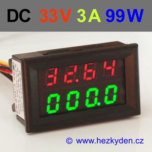 Panelový digitální voltmetr ampérmetr 33V 3A 99W DC + teploměr