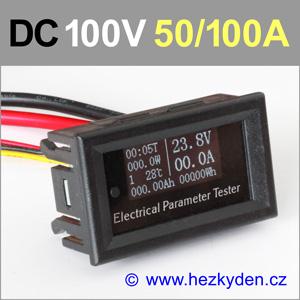 Panelový multifunkční měřák OLED 100V 50A 100A