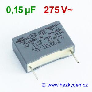 Fóliový kondenzátor 150nF 275Vac MKP