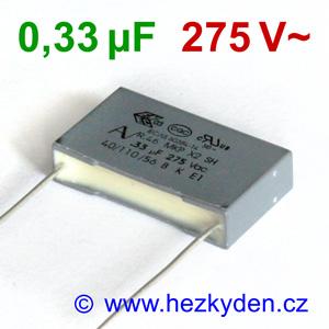 Fóliový kondenzátor 330nF 275Vac MKP