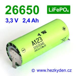 Nanofosfátová baterie akumulátor A123 ANR26650