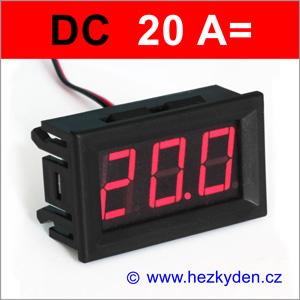 Panelový digitální ampérmetr LED - 3 místa - 20A DC
