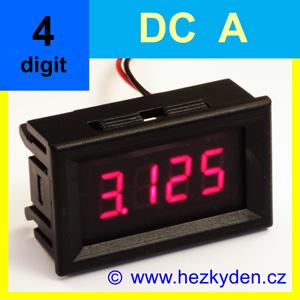 Panelový ampérmetr LED - 4 místa - DC - s funkcí alarmu