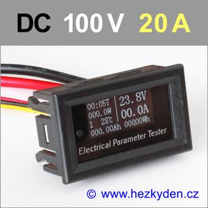 Panelový multifunkční měřák OLED 100V 20A