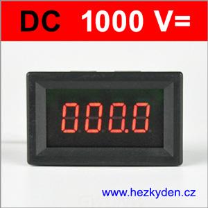 Panelový voltmetr LED - 4 místa - 1000V DC - červený
