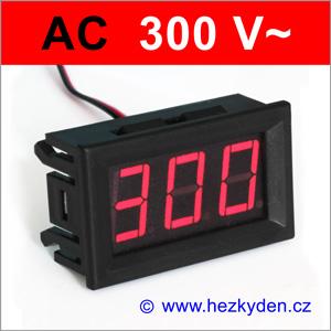 Panelový digitálni voltmetr LED 300V AC