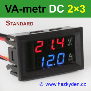 Panelový digitální voltmetr ampérmetr DC 2×3 místa STANDARD červeno-modrý