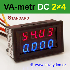 Panelový digitální voltmetr ampérmetr DC 2×4 místa STANDARD červeno-modrý