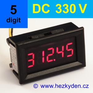 Panelový digitální voltmetr LED - 5 míst - 330V DC - autorange