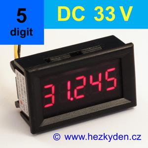 Panelový digitální voltmetr LED - 5 míst - 33V DC