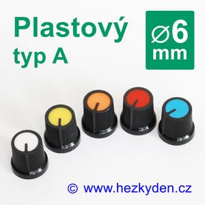 Barevný plastový přístrojový knoflík 6 mm - typ A