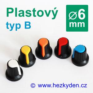Barevný plastový přístrojový knoflík 6 mm - typ B